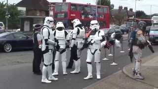 Stormtroopers help Police with enquiries outside Jedi-Robe Shop London